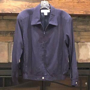 Melrose Studio Navy 100% Silk Bomber Jacket •Small